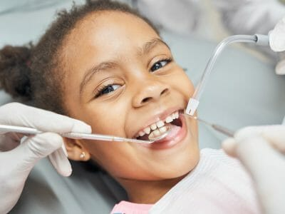 Child having a nice dental treatment experience